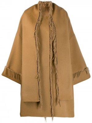 Пальто-кейп с кисточками P.A.R.O.S.H.. Цвет: нейтральные цвета