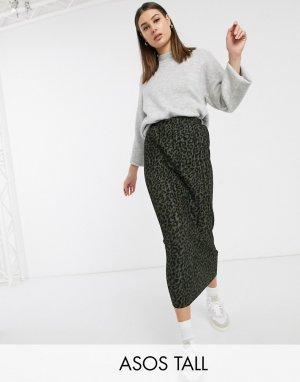 Плиссированная юбка макси с леопардовым принтом ASOS DESIGN Tall-Мульти Tall