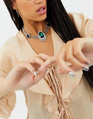 Ожерелье-чокер с кристаллами -Серебряный Topshop