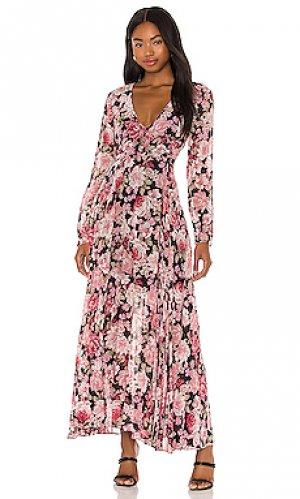 Макси платье garden Bardot. Цвет: black, pink