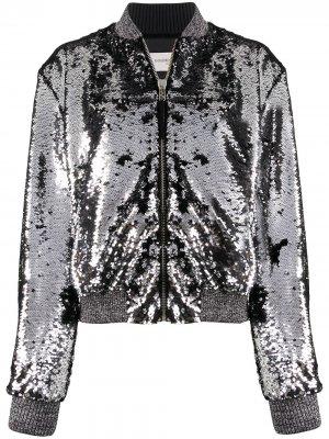 Куртка-бомбер с пайетками Golden Goose. Цвет: серебристый