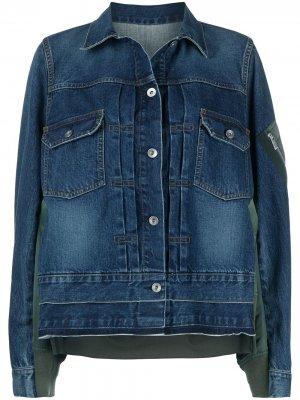 Джинсовая куртка с контрастной вставкой Sacai. Цвет: синий