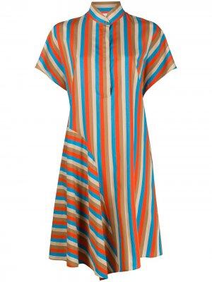 Полосатое платье-рубашка с воротником-стойкой Akris Punto. Цвет: нейтральные цвета