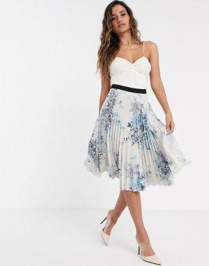 Плиссированная юбка миди с принтом -Мульти Closet London