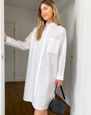 Платье-рубашка миди в стиле oversized от -Белый Daisy Street