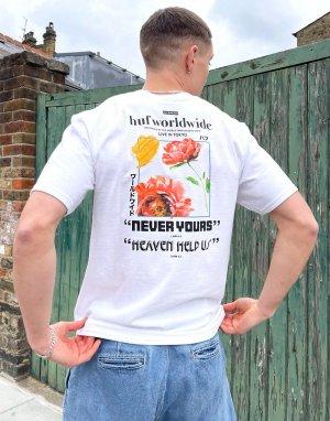 Белая футболка с принтом never yours -Белый HUF