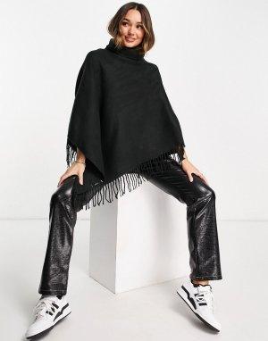 Черное пончо с высоким воротником и бахромой по краям -Черный цвет Vero Moda