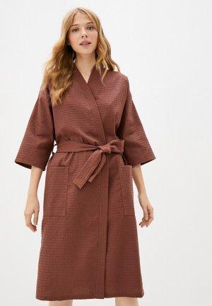 Халат домашний Bio-Textiles. Цвет: коричневый