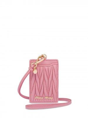Стеганый картхолдер Miu. Цвет: розовый
