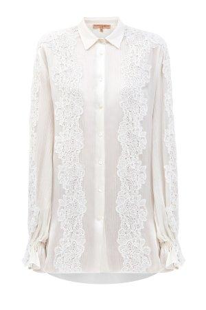 Струящаяся блуза из легкого шифона с объемными рукавами и кружевной отделкой ERMANNO SCERVINO. Цвет: белый