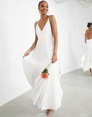 Свадебное платье на бретельках с отделкой пайетками Josie-Мульти ASOS EDITION