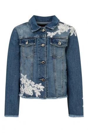 Джинсовая куртка с вышивкой Ermanno Scervino Children. Цвет: синий