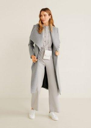 Пальто с большими лацканами, шерстью - Barto Mango. Цвет: меланжевый светло-серый