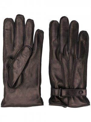 Перчатки с пряжкой Ermenegildo Zegna. Цвет: коричневый
