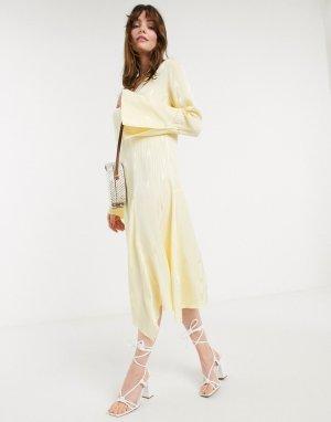 Желтое платье миди с расклешенными рукавами -Белый In Wear