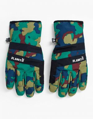 Утепленные перчатки с камуфляжным принтом -Зеленый Planks