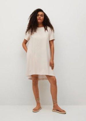 Короткое струящееся платье - Byec-h Mango. Цвет: бежевый