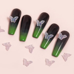 10шт Украшение для ногтей в форме бабочки SHEIN. Цвет: нежний розовый