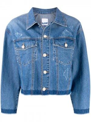 Джинсовая куртка на пуговицах SJYP. Цвет: синий