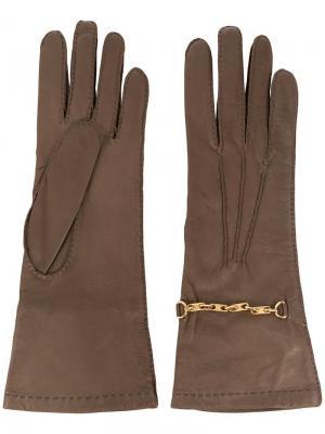 Классические перчатки Céline Pre-Owned. Цвет: коричневый