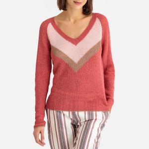 Пуловер с V-образным вырезом из тонкого трикотажа PERNITA HARRIS WILSON. Цвет: темно-розовый