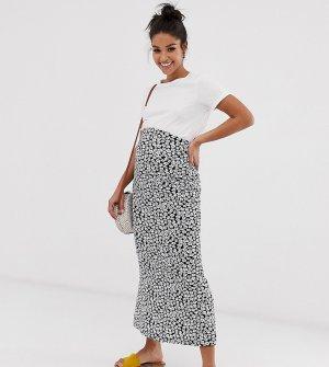 Монохромная трикотажная юбка миди в цветочек без застежек ASOS DESIGN Maternity-Мульти Maternity
