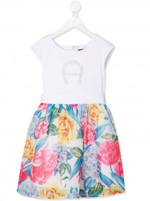 Платье миди с цветочным принтом Aigner Kids. Цвет: белый