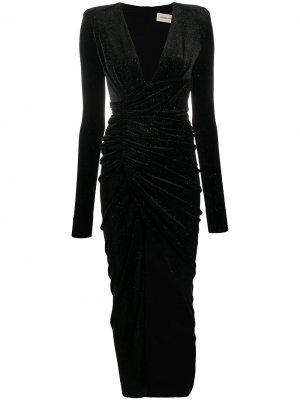 Бархатное платье с блестками Alexandre Vauthier. Цвет: черный