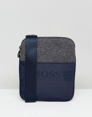 Темно-синяя сумка из разных видов ткани by Hugo Boss Green. Цвет: темно-синий