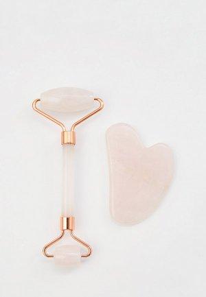 Массажер для лица Beautyparad двусторонний + скребок гуаша из натурального камня розовый кварц. Цвет: розовый
