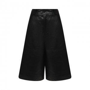 Кожаные шорты Ganni. Цвет: чёрный