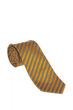 Галстук Royal Class. Цвет: оранжевый, серый в полоску