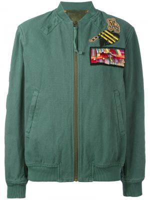 Куртка-бомбер с нашивками Mr & Mrs Italy. Цвет: зеленый