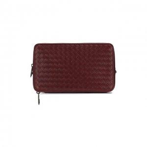 Кожаный футляр для документов с плетением intrecciato Bottega Veneta. Цвет: красный
