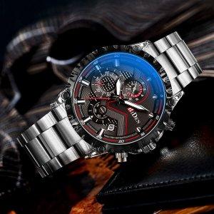Мужские кварцевые часы с тройным циферблатом, датой и инструментом для снятия ремешка SHEIN