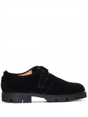 Фактурные туфли монки Maison Margiela. Цвет: черный
