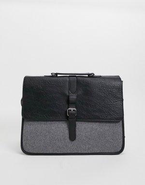 Сумка портфель из черной искусственной кожи и вставки сукна ASOS-Черный цвет ASOS DESIGN