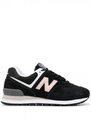 Кроссовки 574 со вставками New Balance. Цвет: черный