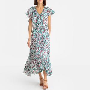 Платье с цветочным узором длинное короткими рукавами LALY ANTIK BATIK. Цвет: зеленый