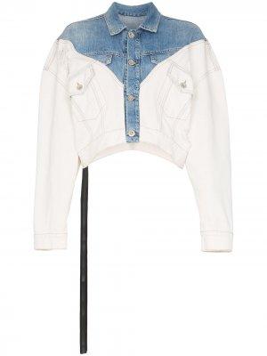 Укороченная джинсовая куртка UNRAVEL PROJECT. Цвет: синий