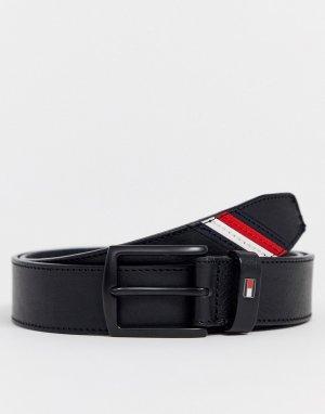 Черный кожаный ремень Tommy Hilfiger