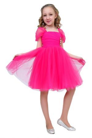 Платье с брошью Ladetto. Цвет: малиновый