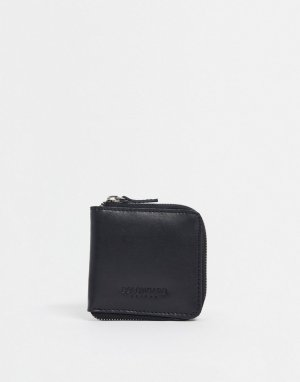 Кожаный бумажник на молнии -Черный Bolongaro Trevor