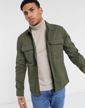 Куртка-рубашка оливкового цвета -Зеленый цвет Abercrombie & Fitch