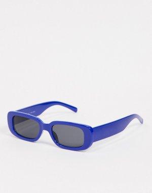 Узкие квадратные солнцезащитные очки в стиле ретро -Голубой AJ Morgan