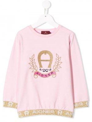 Толстовка с логотипом Aigner Kids. Цвет: розовый