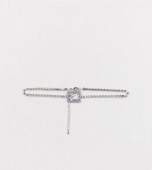 Серебристое ожерелье-чокер с камнем ASOS DESIGN Curve-Серебряный Curve