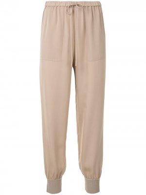 Rib cuff silk joggers Theory. Цвет: коричневый