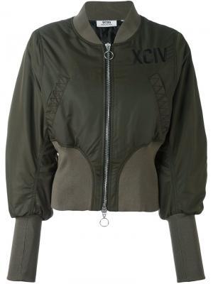 Куртка бомбер с эластичными манжетами Gcds. Цвет: зелёный