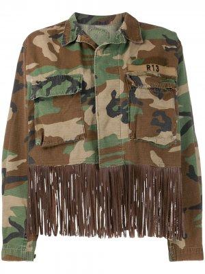 Джинсовая куртка Abu с бахромой R13. Цвет: коричневый